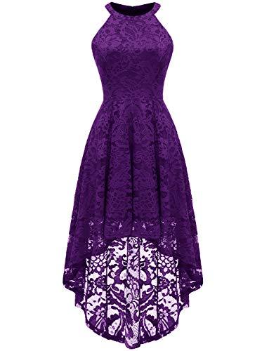 Dressystar - Vestido de cóctel para mujer, asimétrico, de encaje, rockabilly morado M