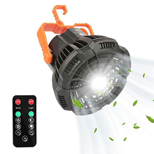LOOCOO Ventilador de tienda de campaña, ventilador de techo portátil, lámpara LED, ventilador recargable con control remoto, apto para acampar al aire libre, hogar, oficina, viajes