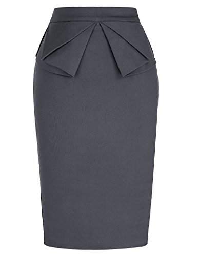 GRACE KARIN 1950s Retro Pencil Skirt for Women Knee Length Grey XL