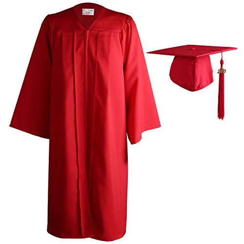 OSBO GradSeason Unisex Matte Adult Graduation Gown Cap Tassel Set Red