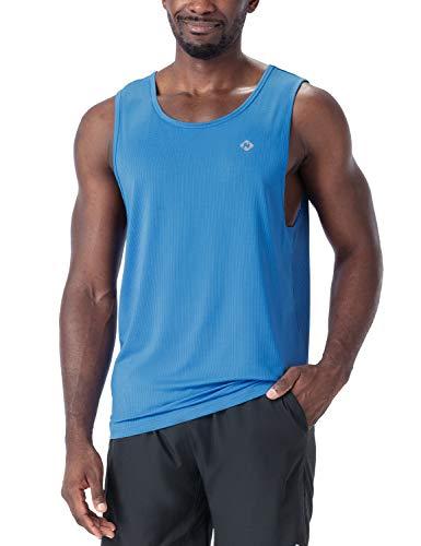 NAVISKIN Men's Workout Tank Tops Sleeveless Muscle Tank Running Bodybuilding Athletic Shirts Blue Size S