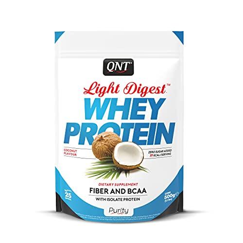QNT Proteine del Siero di Latte con Fibre, Bcaa e Whey Isolate Gusto Cocco - 0.5 kg