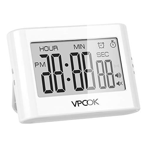 VPCOK Timer Cucina Digitale Timer da Cucina Magnetico Timer Digitale 5 Pulsanti con Sveglia Digitale, Allarme Forte e Display LCD Cronometro Digitale Timer alla Rovescia Timer Studio per Allenarsi