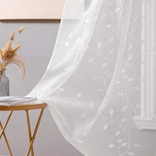 MIULEE Voile Tenda Finestra con Occhielli Tenda a Pannello Tende a Vela Trasparente per Soggiorno e Camera da Letto 2 Pezzo Set 140X260 cm Foglie Bianco