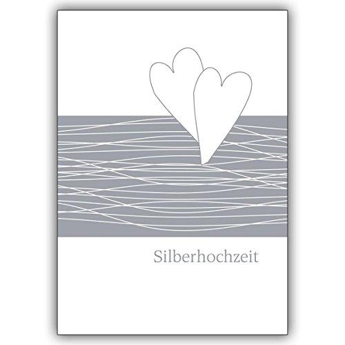 1 Hochzeitskarte: Edle Glückwunschkarte zur Silberhochzeit mit Herzen • feine Glückwunsch Grußkarte zur Trauung, Standesamt