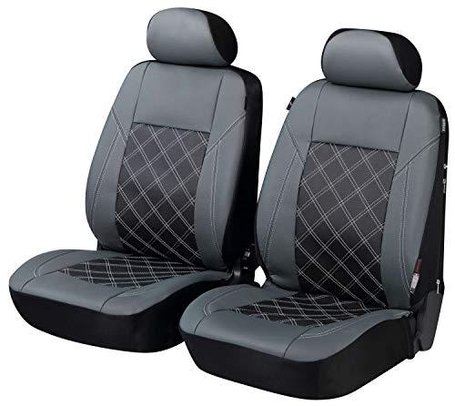 Walser Auto Sitzbezug Durham mit Reißverschluss, Zipp-IT Deluxe Schonbezüge Auto, 2 Vordersitzbezüge grau 11980