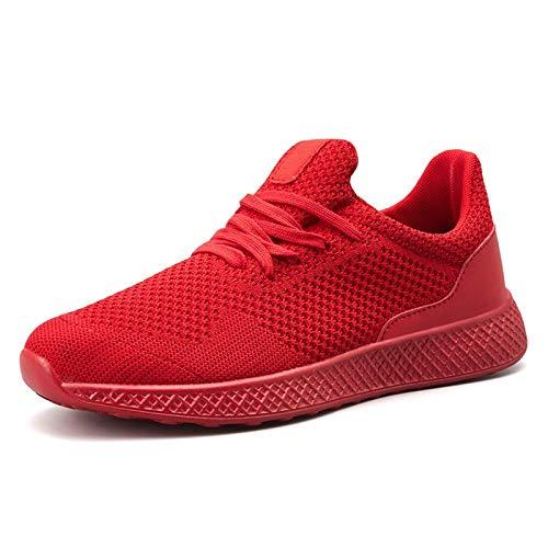 COOPCUP Zapatillas deportivas para hombre, transpirables, cómodas, para gimnasio, entrenamiento al aire libre, para verano, 42, color rojo