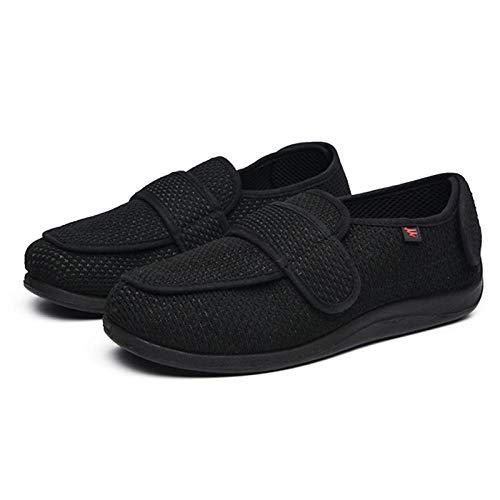 Zapato ajustable y cómodo para la diabetes,Zapatos blandos para caminar de gran tamaño,zapatos abrigados y de terciopelo ensanchados y ajustables-negro_39,Zapatillas diabéticas de espuma viscoelástica