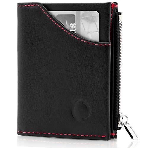 Cartera pequeña con Monedero para Hombre - Billetera de Piel con Tarjetero RFID y Monedero con Cremallera, Regalos para Hombre, Negro/Rojo