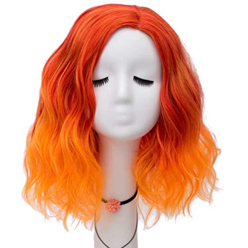 NiceLisa Lady 40cm Color mezclado Rojo Naranja Suelta Ola Fiesta de Halloween Vestido diario Cosplay Peluca