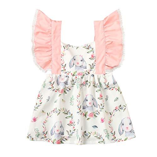 Cover Prinzessin Kleid Baby Mädchen Rüschen Ärmel Hase Muster Kleider Bekleidungsset Ostern Osterhasen Kostüm