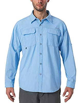 Naviskin Men's UPF 50+ Sun Protection Outdoor Long Sleeve Shirt Lightweight Quick-Dry Cooling Fishing Shirts Bluebell Size L