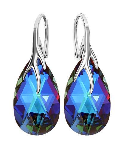 Crystals & Stones *MANDEL* 22 mm *Farben Varianten* Schön 925 Silber Ohrringe Damen Ohrhänger mit Kristallen von Swarovski Elements - Wunderbare Ohrringe mit Geschenkbox BA/39 (Meridian)