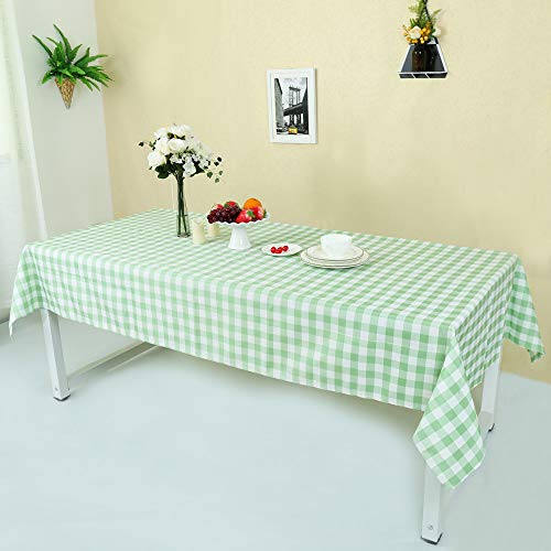 Zdada Polyester Plaid Check Tablecloth - 1.5m x 2.4cm(60 x 96 Inch Grass Green and White Rectangle Checker Table Cover for Picnic Home Use