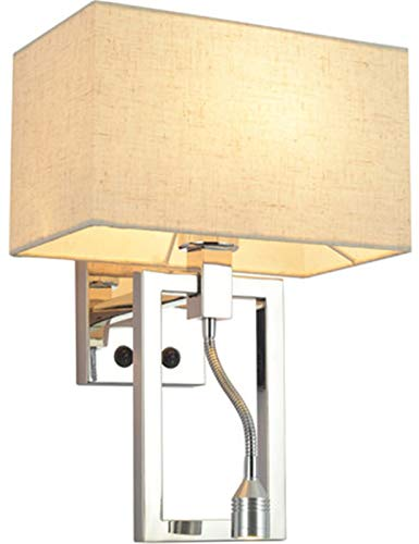 Lámpara De Pared Cuadrada De Acero Inoxidable Simple Y Moderna Con Interruptor, Decoración De La Pared De La Habitación Interior, Lámpara De Noche Para Dormitorio Con Foco De Lectura (Color : A)