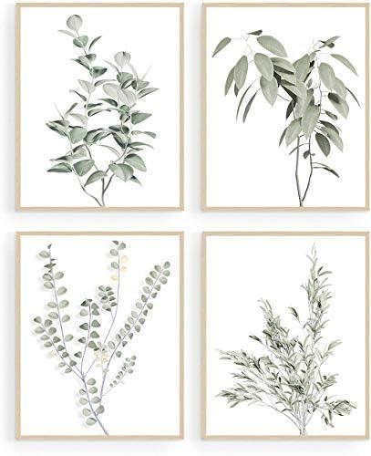 Botanical Plant Wall Art Prints Minimalist Wall Art Boho Wall Decor Green Leaves Eucalyptus product image