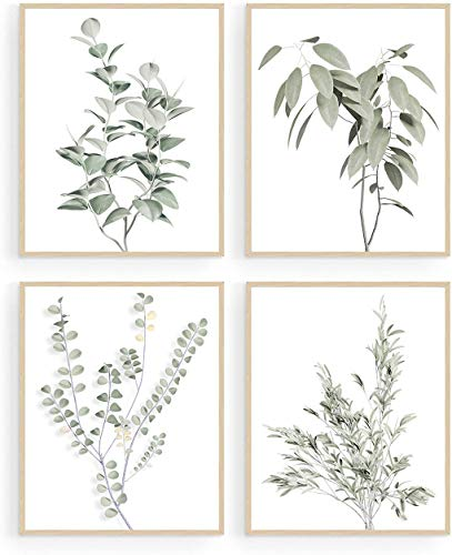 Plant Wall Decor, Botanical Wall Art, Boho Wall Decor, Minimalist Wall Art, Eucalyptus Leaves Photo Pictures, Botanical Prints, Sage Green Decor (Set of 4, 8X10in, Unframed)