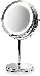 medisana CM 840 okrągłe lustro kosmetyczne - lustro stołowe z oświetleniem LED i 5-krotnym powiększeniem - lustro do makij...