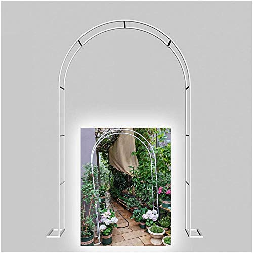 CDFCB Metal Archway Garden Arbor Trellis Arco de Boda Tubular para Escalar Plantas al Aire Libre Sturdy Rose Arbor Trellis Support 140x230cm / 4.6x7.5ft Festival Decoratio-350x220cm_Blanco