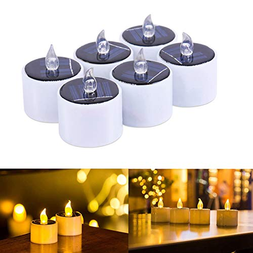 Solar Candles, 6 Pcs Flameless Flickering Candles Waterproof Solar Powered Battery Operated Tea Light Led Candles Realistic Candles Light for Outdoor Wedding Christmas Halloween Party Decor