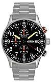 Astroavia N31S - Orologio da polso da uomo, cronografo, al quarzo, con cinturino in acciaio inox massiccio