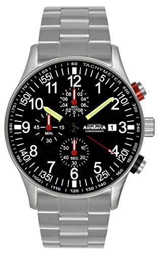Astroavia Reloj de pulsera para hombre con cronógrafo, cuarzo, con pulsera de acero inoxidable macizo N31S