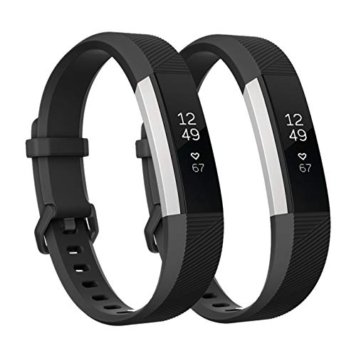 Fundro Replacement Bands Compatible with Fitbit Alta Bands and Alta HR Band, Newest Sport Strap Wristband with Secure Buckle for Women Men Boys Girls, 2- Pack (Small, Black/Black)