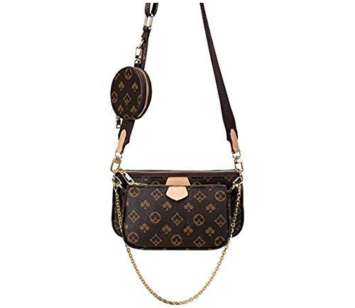 ZLYY Mahjong Bag Umhängetasche Schultertasche 3 in 1 Luxus-Handtasche PU Leder Tragetaschen Fashion für Frauen Braun