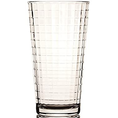 Circleware Windowpane Clear Heavy Base Drinking Glasses, Set of 4, 17 Ounce
