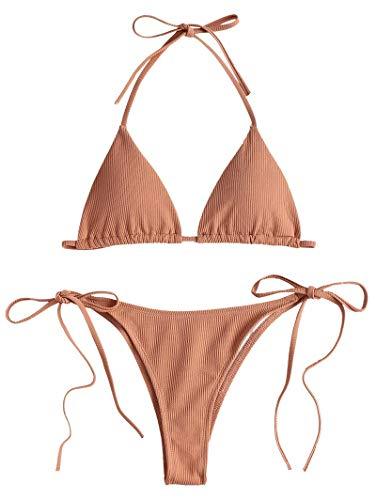 ZAFUL Damen Einfarbiger Gerippter Halter Bikini Gepolsterter Badeanzug Beachwear(Wüstensand S)