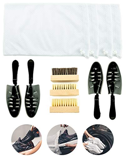 Sneaker Shoe Bag Cleaning Kit Laundry System for Washing Machine - Includes Cleaning Brush and Adjustable Length Shoe Tree