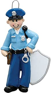 Personalized Policeman Christmas Tree Ornament 2019 - Police Officer Blue Uniform Hat Badge Gun Handcuffs Tickets Coworker Cop New Job Agent Academy Detective Profession - Free Customization (Male)