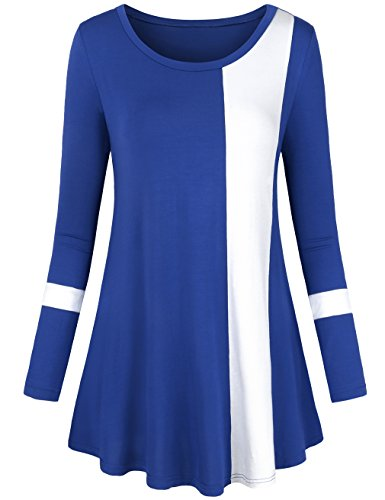 LNIMIKIY Ladies Tunics 2017 Boutique Clothes Fashion Unique Design Novelty Trapeze Swing Clothing Fall Long Leeve Blouse Work Stylish Shirt,Blue 2XL