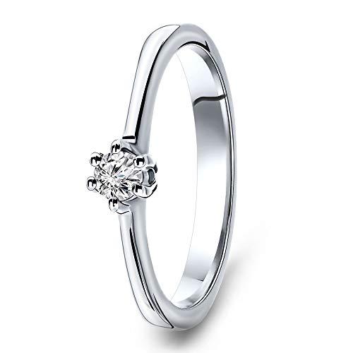 Miore anillo de compromiso para mujer de oro blanco de 14 quilates 585 y...