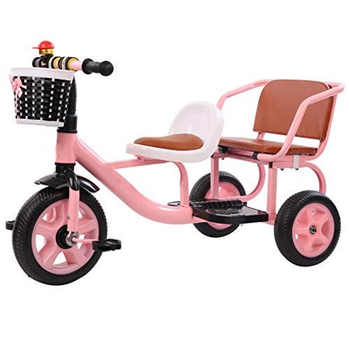 Tandem Kinder Dreirad Mit Lager Behälter, Doppelt Sitz Pedal Fahrrad Können Tragen Menschen Reiten Spielzeuge 3-6 Jahre Alt,B