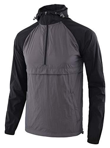 Estepoba Men's Lightweight Waterproof Zip Hoodie Rain Jacket Anorak Windbreaker Dark Gray/Black S