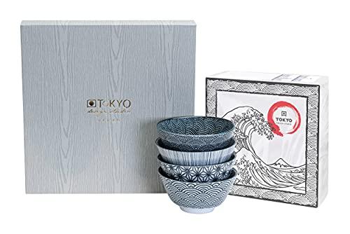 TOKYO design studio Nippon Black Set Ciotola da 4 pz. Bianco-Nero, Ø 12 cm, ca. 300 ml, Porcellana Giapponese con Motivi Geometrici, Confezione Regalo Inclusa