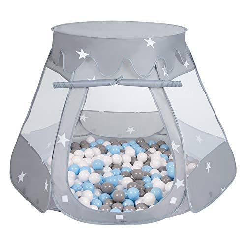 Selonis Baby Spielzelt Mit Plastikbällen Zelt 105X90cm/300 Stück Bälle Plastikkugel Kinder, Grau:Grau/Weiß/Babyblue