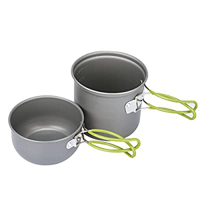 G4Free Outdoor Camping pan Hiking Cookware Backpacking Cooking Picnic Bowl Pot Pan Set 4 Piece Camping Cookware Mess Kit(2 PCS-Green)