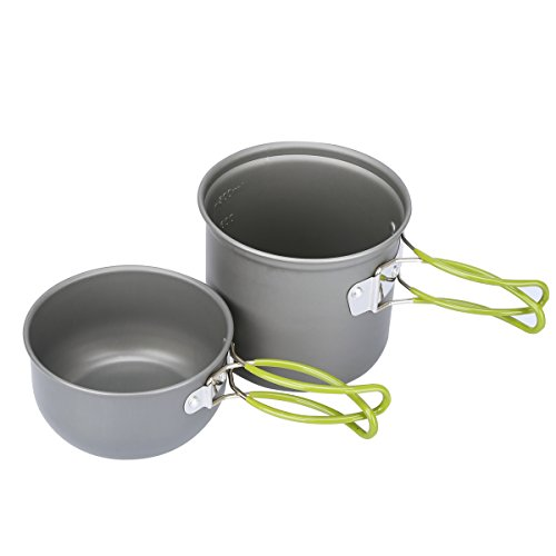 G4Free 2/4/13 PCS Camping Cookware Mess Kit Hiking Backpacking Picnic Cooking Bowl Non Stick Pot Knife Spoon Set (2PCS Green)