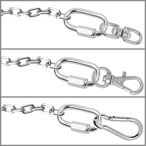 BELLE VOUS Stainless Steel Screw Quick Link M12 Carabiner Chain Connectors (2 Pack) - 10.6cm/4.17 inch - Heavy Duty Oval D Shape Locking Clips for Outdoors/Indoors, Camping & Hiking Accessories