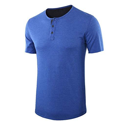 N\a - Camiseta de manga corta para hombre, estilo informal, para fiestas, excursiones, viajes Azul 1 XXL
