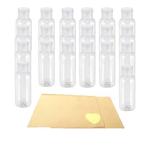 20pcs 30ML Bote hermético con Gorra Botella rellenables plástico Transparente de Bote pequeño para Viaje en avión+24 Piezas Etiquetas