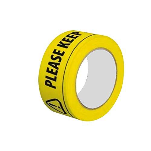 CHRONSTYLE Sicherheitsabstand für den Boden halten Klebeband Bitte halten Sie einen Sicherheitsabstand von 2 m EIN. Sicherheitsbandaufkleber Schwarz Gelb Bodenmarkierungsrolle Warnband (1 Stück, 2M)