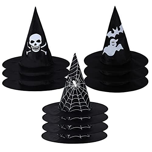 10 Piezas Gorro de Bruja de Halloween,Negra Gorra Puntiaguda de Mujer Bruja,Sombreros Fantasma Araña Esqueleto Accesorio de Disfraz,Decoración para Niños Adultos Halloween Fiesta Disfraces Carnaval