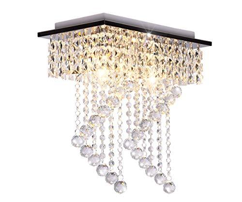 Dellemade - Lampadario candelabro in cristallo a 2 luci in stile moderno, plafoniera per scale, bar, cucina, sala da pranzo, sala giochi per bambini
