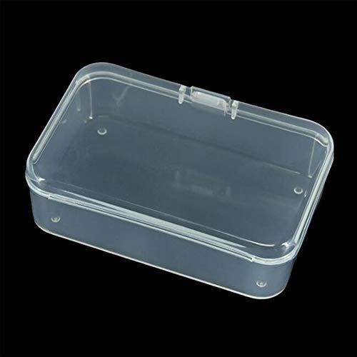 EMFGJ Caja pequeña cuadrada individual transparente con tapas, cuentas, contenedores de almacenamiento, mini colección de contenedores para manualidades, colgante de joyería y llavero