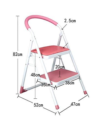 Stap kruk, training vouwen ladder met handvat Indoor draagbare ladder/opslag beugel roze