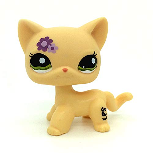 jjlin Mini Pet Shop Rare Short Hair Cat Kitty Yellow Purple Flowers LPS Toy #1962