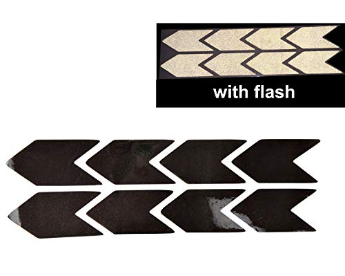 CUSHYSTORE Chevron Arrow Shaped Reflective Safety Decal Sticker for Car Helmet Motorcycle 25x50 mm, Black Reflects White